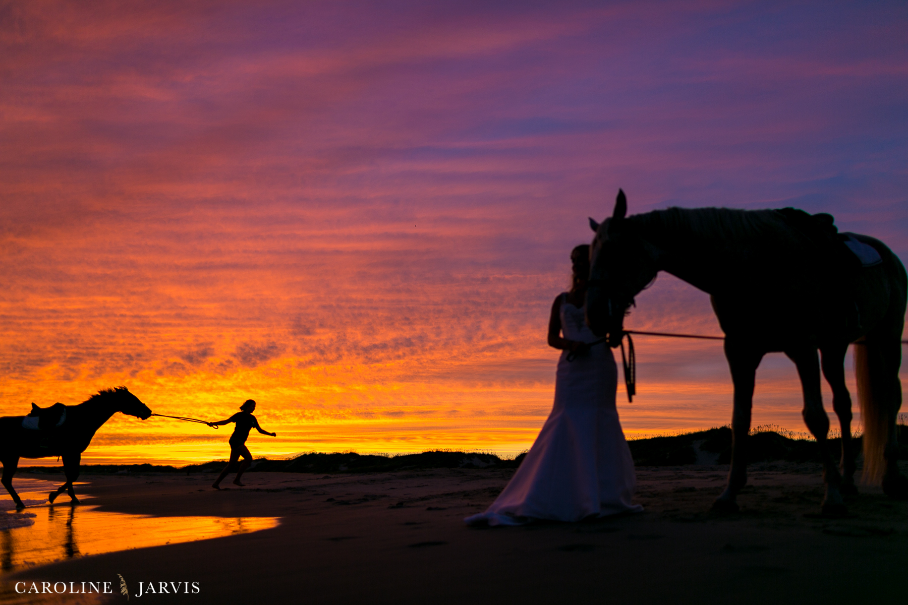 Outer Banks Bride | Sunset Bridal Session by Caroline Jarvis Photography