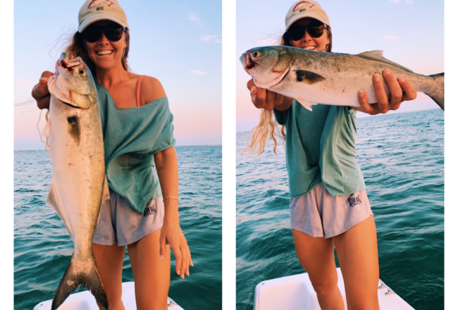 Catching Bluefish in Hatteras, North Carolina in my BOAT :)